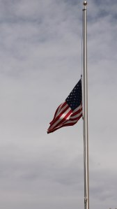 ~ An American Flag at Half-staff on Memorial Day ~ On our way back home we have to pass a hotel and this flag was flying proudly.
