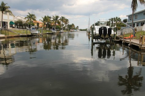 Looking down the canal (from Bob's dock) that leads to the Intra-Coastal Waterway that then leads to the Atlantic Ocean