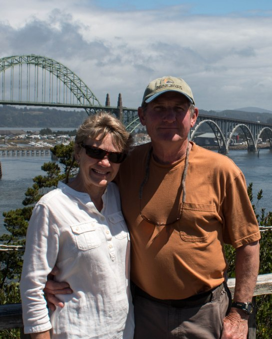 Howard and Sheila with Yaquina Bay Bridge in the background