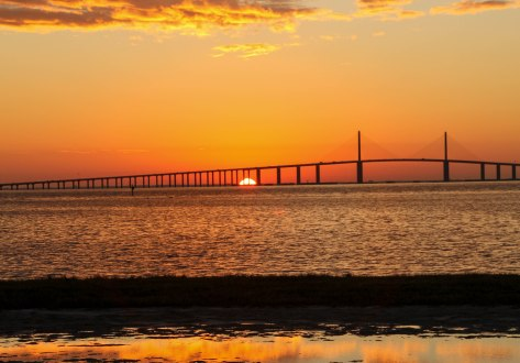 Sunrise  from South Beach, Fort De Soto County Park- (Tampa Bay Bridge)