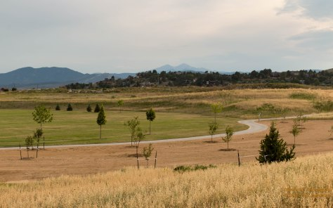 Mehaffey Park with Long and Meeker Peaks in the distance.