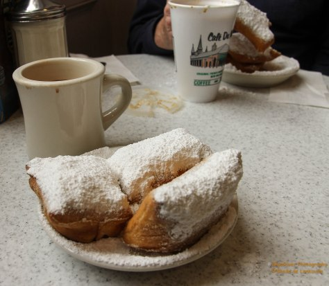 Cafe Du Monde, New Orleans cafe known for cafe au laits, chicory coffee and beignets since 1862.