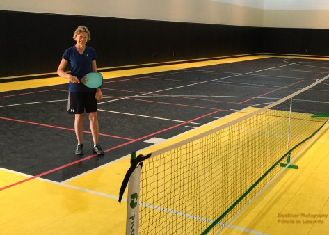 Howard took this photo, before the start of the games. Four nets setup in the gym at Clermont. I got to play twice for several hours. Met a lot of nice people.